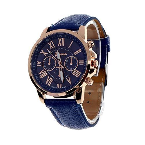 Fashion Geneva Roman Numerals Faux Leather Analog Quartz Women Wrist Watch for Men Women Bracelet Watch