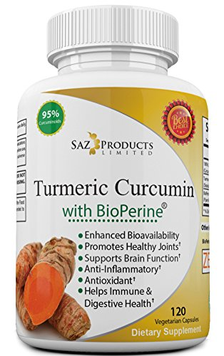 Turmeric Curcumin with Bioperine Black Pepper Extract - Fast Absorption and Natural Anti-Inflammatory Joint Support and Pain Relief with 95% Curcuminoids - 120 Veggie Capsules, Non GMO, Made in USA