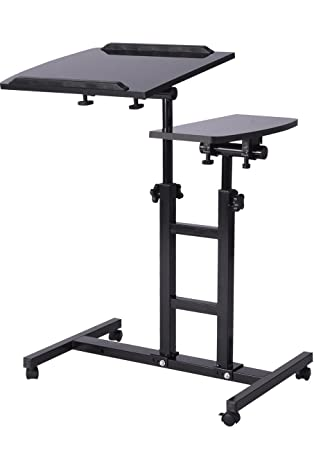 rolling table office furniture small laptop depot height adjustable desk cart over bed hospital stand black