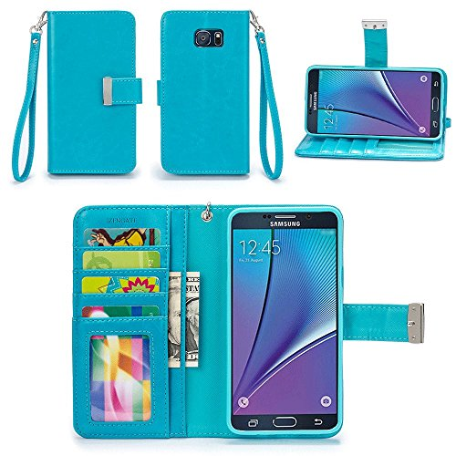 Galaxy Note 5 Case, IZENGATE [Classic Series] Wallet Case Premium PU Leather Flip Cover Folio with Stand for Samsung Galaxy Note 5 (Turquoise Blue)