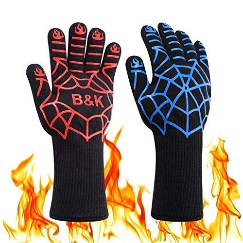 BKhome BBQ Cooking Grill Gloves - 932°F Heat Resistant Oven Gloves 14inch Barbecue Mitt for Cooking, Grilling, Baking