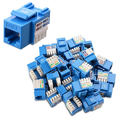 [UL Listed] Cable Matters 25-Pack Cat6 RJ45 Keystone Jack in Blue and Keystone Punch-Down Stand
