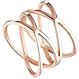 #6: Womens 14MM Rose Gold Tone Stainless Steel Double X Criss Cross Infinity Ring Engagement Wedding Lady Girls Band