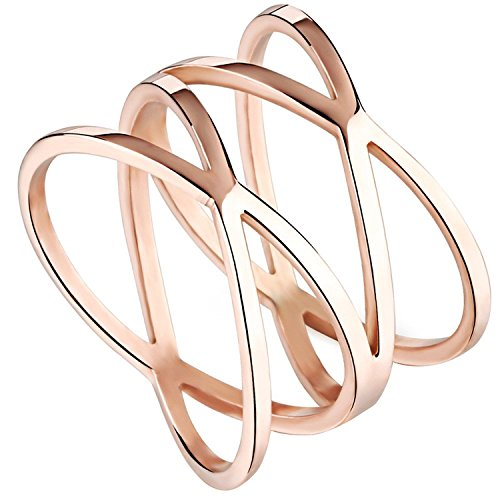 "Womens 14MM Rose Gold Tone Stainless Steel Double""X"" Criss Cross Infinity Ring Engagement Wedding Lady Girls Band (10)"
