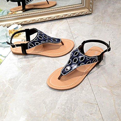 Colorful TM New Summer Women Teenage Girls Roman Flats Flip Flops Crystal Ladies Sandals Shoes Bohemian Beach Sandals Black XE3DGXaho5