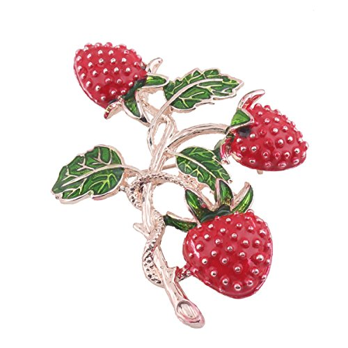 Grace Jun New Style Strawberry Shape Brooches for Women Gold Plated Leaf pins and Brooches - Gold Plated Leaf Brooch