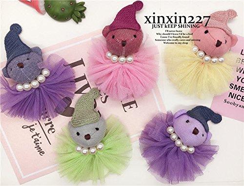 - 227 cute cartoon animals customization Heart Bear gauze fabric brooch wool flower brooch corsage accessories
