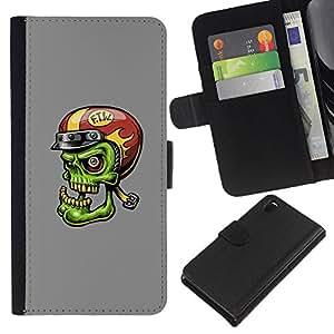 LECELL--Cuero de la tarjeta la carpeta del tirón Smartphone Slots Protección Holder For Sony Xperia Z3 D6603 -- Divertido Verde Zombie motorista --