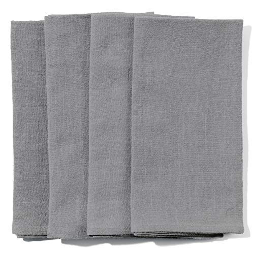 Caldo Linen Dinner Napkins - Soft and Durable Cloth - 4 Pack - 20x20 inch (Grey)