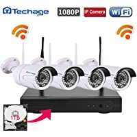 Techage Wifi Security Camera System/ Wireless CCTV System Outdoor/ Indoor, 4CH 1080P 2.0MP Waterproof IP Camera, 65ft Night Vision, Plug & Play, Home Security Surveillance Kits With 1tb Hard Disk