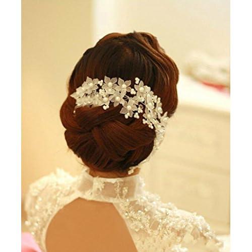 Musuntas Bijoux perle strass mariage nuptiale nuptiale Accessoires cheveux Clip strass de cheveux
