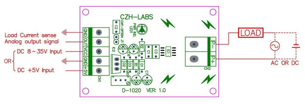 basado en ACS712 electronics-salon montaje en riel DIN //-5amp AC//DC Corriente Sensor Module