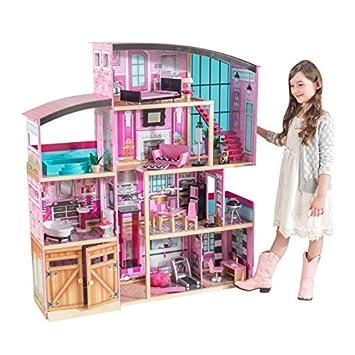 good hot product quality design KidKraft 65949 Maison de poupées en bois Shimmer incluant accessoires et  mobilier, 4 étages de jeu pour poupées 30 cm