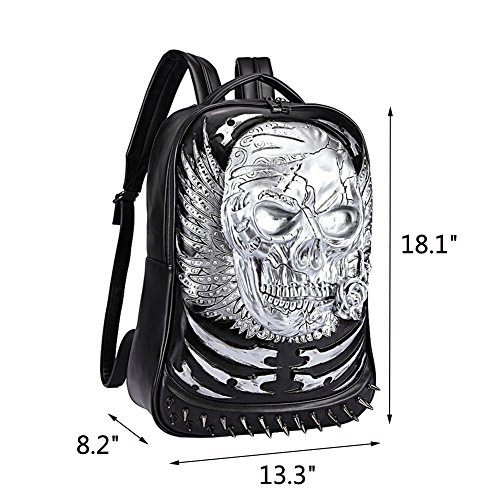 Egoelife PU Leather 3D Skull Backpack Multipurpose Hiking Daypack School Laptop Bag (Gold) by Egoelife (Image #2)