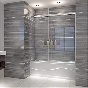 Elegant Semi Frameless Bypass Double Sliding Tub Shower