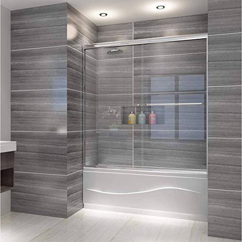 (ELEGANT Semi-Frameless Bypass 2 Sliding Shower Tub Door, 58.5