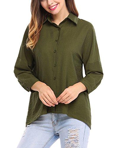 3/4 Sleeve Oxford Shirt (Zeagoo Women's 3/4 Sleeve Basic Button Down Casual Solid Shirt (Green XL))