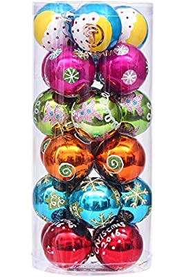 "Sea Team 60mm/2.36"" Colorful Painting & Glittering Christmas Tree Pendants Decorative Hanging Christmas Baubles Balls Ornaments Set - 24 Pieces"