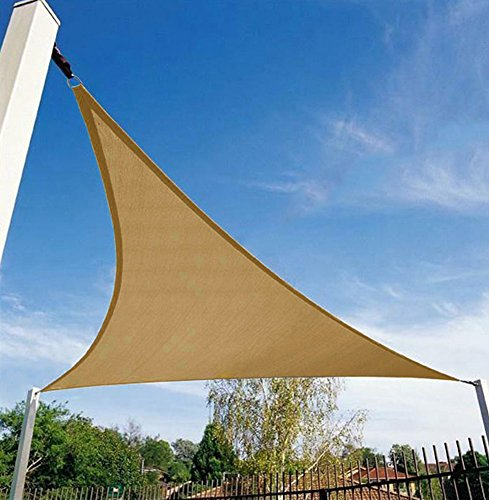 Shade&Beyond 12' x 12' x 12' Sand Color Triangle Sun Shade Sail for Patio Yard Deck UV Block for Outdoor Facility and (Pergola Deck Kit)