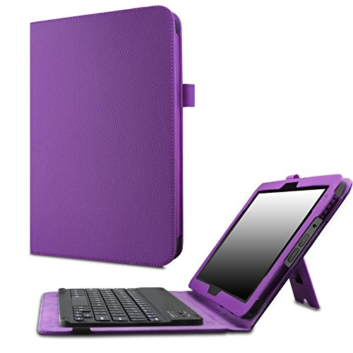 Verizon Ellipsis 10 Keyboard Case - Infiland Slim Premium PU Leather Stand Cover with Magnetically Detachable Wireless Bluetooth Keyboard for Verizon Ellipsis 10' 4G LTE Tablet 2015 Release, Purple