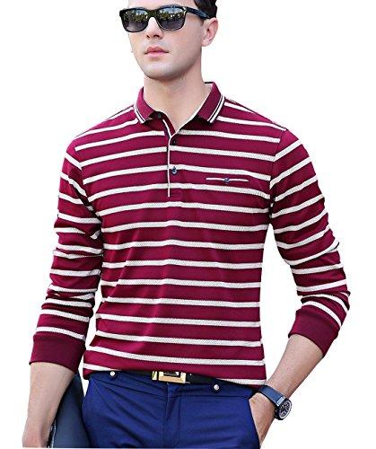 XTAPAN Men's Casual Long Sleeve Slim Fit Stripe Polo Cotton T Shirt 50 8821 Wine Red