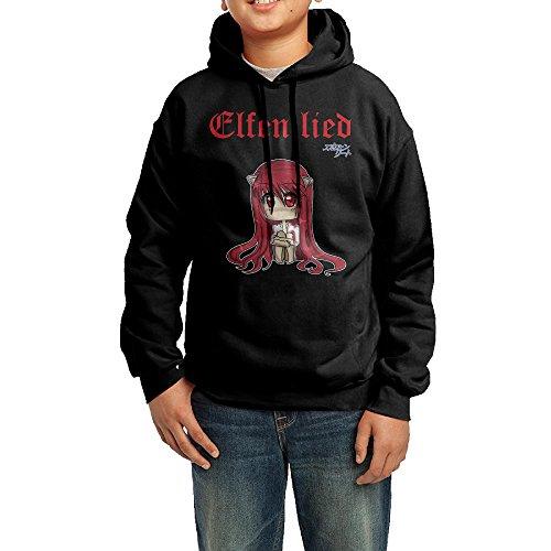 (Funny Black Sweatshirts 90s Elfen Lied Cool Hoodies For Boy)