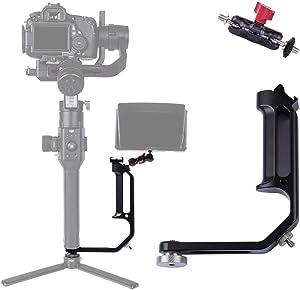 DF DIGITALFOTO Universal L Bracket Handle Gimbal Accessories,Mounting Monitor/Microphone with Bean Grip Compatible with DJI Ronin S/SC,RS2/RSC2/Zhiyun Crane V2/M/2,Moza Air 2,Feiyutech AK2000/4000 etc