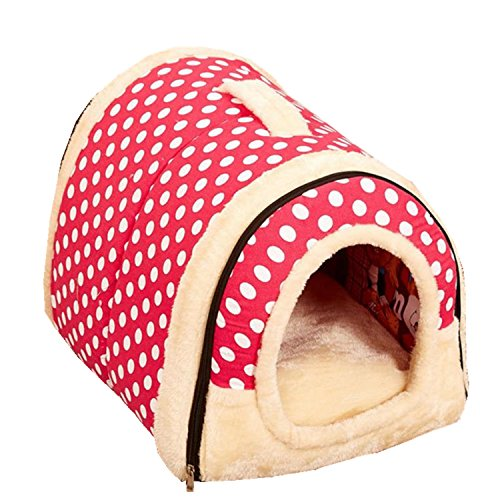 Old DIrd Cat Bed House,Pets 2 in 1 Self Warming Triangle Foldable Cat Cave Bed,Comfortable Soft Plush Enclosed Cat Dogs…