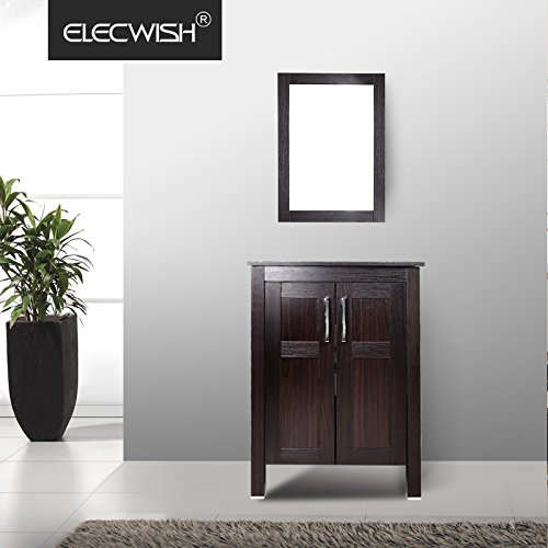 Elecwish Bathroom Vanity, Modern Stand Pedestal Cabinet Wood, Frosted Glass Shelf, Dark Espresso With Mirror, (Frosted Glass Vessel Pedestal Vanity)