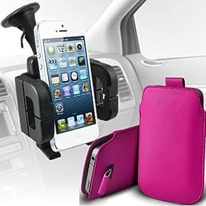 Nokia Lumia 710 premium protección PU ficha de extracción Slip In Pouch Pocket Cordón piel con soporte universal de la succión del parabrisas del coche Vent cuna rosa fuerte por Spyrox