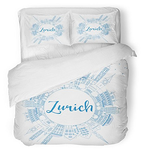 Zurich Queen Bed (Emvency Bedsure Duvet Cover Set Closure Printed Outline Zurich Skyline with Blue Buildings and Copy Space Travel and Tourism Decorative Breathable Bedding With 2 Pillow Shams Full/Queen Size)