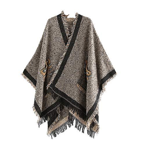 Belgius Women Vintage Cardigan Cape Tassel Poncho Shawl Cape with Leopard Pockets Khaki