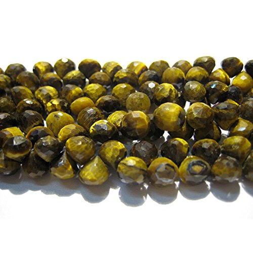8''Full Strand,50 Pieces Approx,8x8mm-AAA Natural Tigers Eye Briolette-Faceted Onion Shaped Briolettes