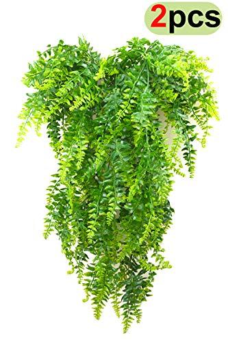 Uohom 2 Pcs 31.5 Inch Artificial Plants Greenery Boston Fern Ivy Vine Persian Rattan Fake Hanging Plant Outdoor UV Resistant Plastic Plants Vines Safari Jungle Party Decorations
