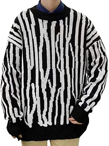 (バイバン)ニット メンズ 長袖 セーター ストライプ柄 丸首 カットソー クルーネック ゆったり ニットセーター おしゃれ 保温 トップス ファッション 秋 冬 トレーナー 防寒