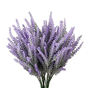TYEERDEC 6 Bundles Artificial Lavender Bouquet Lavender Flowers for Wedding Home Office Decoration-Purple 66