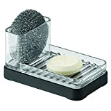 Kitchen Bar Countertop mDesign Bar Soap, Sponge and Scouring Pad Holder for Kitchen Sink  Matte Black/Clear