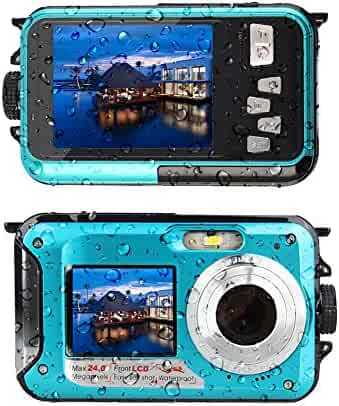 YISENCE Waterproof Digital Camera 24MP Underwater Camcorder Video Recorder FULL HD 1080P Selfie Dual Screen DV Recording … (C8)
