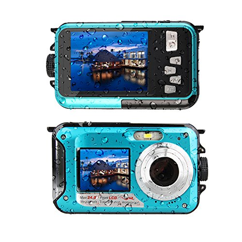 Waterproof Digital Camera Underwater Camera 24 MP Video Recorder Full HD 1080P Selfie Dual Screen Waterproof Camera DV Recording Point and Shoot Digital Camera