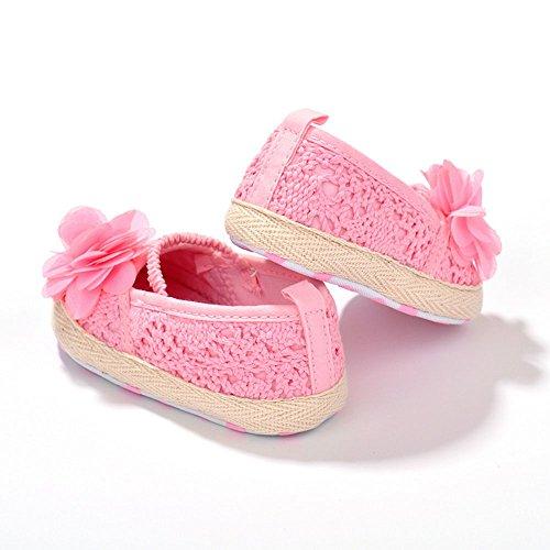 Estamico zapatos infantiles para niñas, diseño Floral, red de hilo, de bailarina blanco roto blanco Talla:12-18 meses rosa