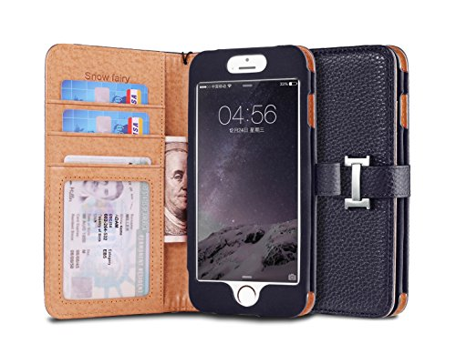 iPhone 6s (4.7) Case, [Snow Fairy] iPhone 6 (4.7) Flip Case [Wristlet Series][Wallet] Cash Pocket - Wrist Strap PU Leather Case for iPhone 6 (4.7) - Special Design ID Slot Dark Blue