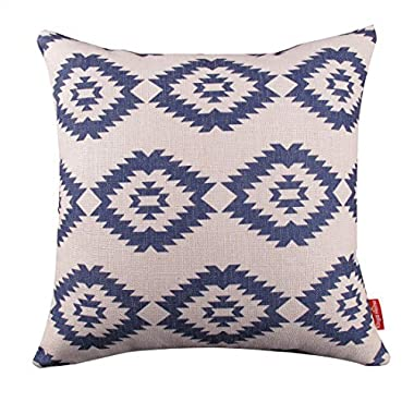 Kingla Home Square Cotton Linen Decorative Throw Pillow Covers 18  X 18  Pillow Case Navy Blue Modern Geometry Couch Cushion Covers