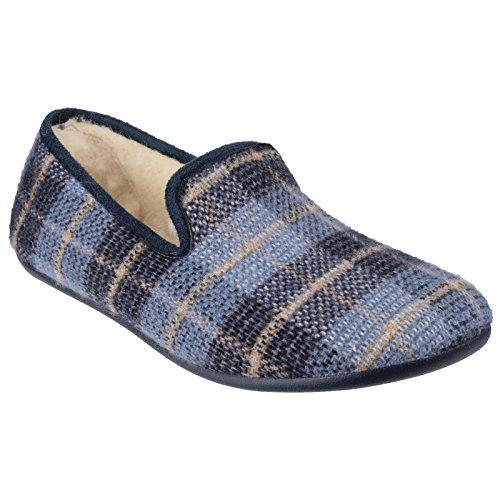 Cotswold Wallis klassische leichte Warmlined Mens Slip-On-Mule Pantoffel Blue