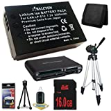 Canon EOS M 18 MP CMOS Mirrorless Digital SLR Camera LP-E12 Lithium Ion Replacement Battery + 16GB SDHC Class 10 Memory Card + Full Size Tripod + SDHC Card USB Reader + Memory Card Wallet + Deluxe Starter Kit Bundle DavisMAX EOS M Accessory Kit