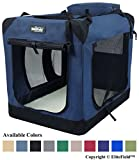 "EliteField 3-Door Folding Soft Dog Crate, Indoor & Outdoor Pet Home, Multiple Sizes and Colors Available (36"" L x 24"" W x 28"" H, Navy Blue)"