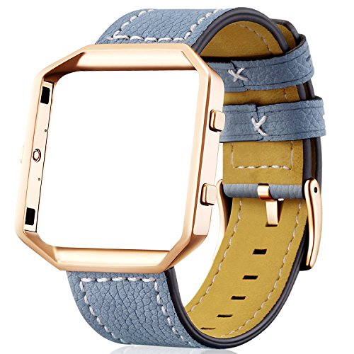 Italian Leather Band (For Fitbit Blaze Leather Bands with Metal Frame, Dizywiee Classic Genuine Leather Wristband for Fitbit Blaze Replacement Fitness Strap Women Men)