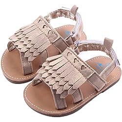 DZT1968® Baby Girl Anti Slip Tassels Sandal Shoes Prewalker (12~18 Months Baby, Khaki)