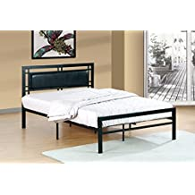 Queen Size Black Metal Frame with Black Leatherette Padded Headboard Bed
