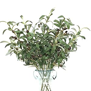 "Htmeing 28"" Artificial Green Olive Branches Fake Plants Fruits for Home Office Shop Decoration (6pcs) 22"