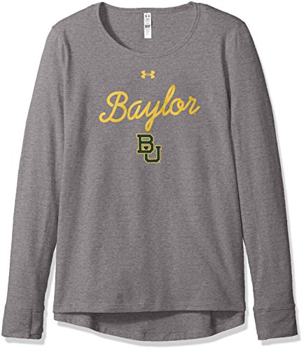 Under Armour NCAA Baylor Bears Womens NCAA Women's Long Sleeve Charged Cotton Tee, Large, Gray